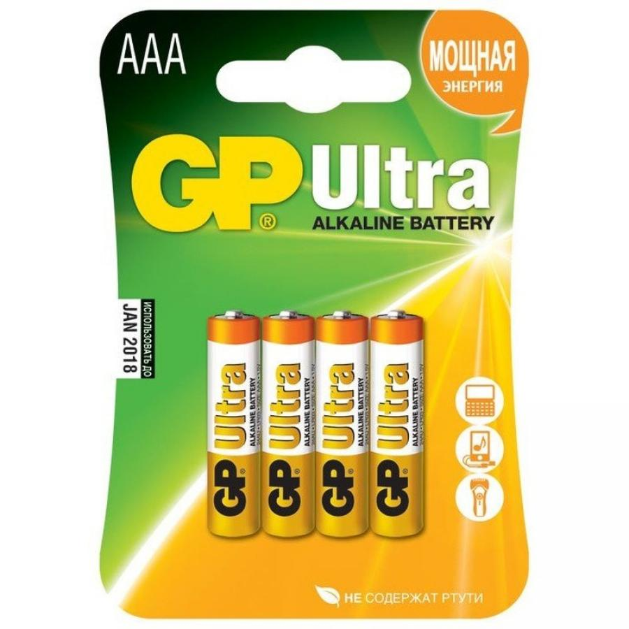 Батарейка AAA GP Ultra Alkaline 24AU LR03 (4шт) ag8 lr55 1 55v alkaline cell button batteries 10 piece pack