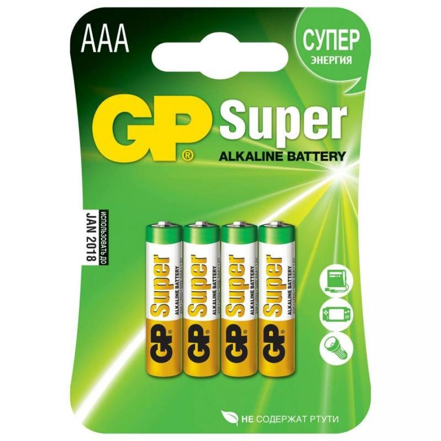 Батарейка AAA GP Super Alkaline 24A LR03 (4шт) ag8 lr55 1 55v alkaline cell button batteries 10 piece pack