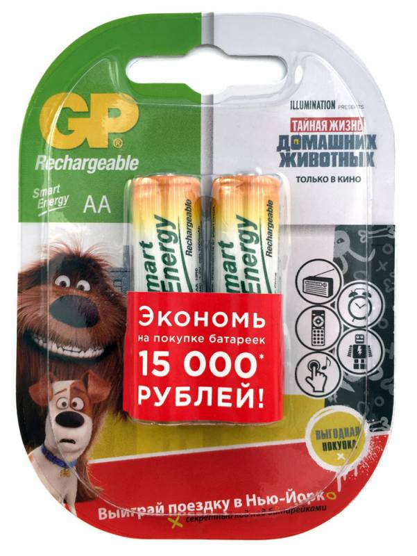 Аккумулятор GP Smart Energy 100AAHCSV AA NiMH 1000mAh (2шт) аккумулятор gp smart energy 40aaahcsv aaa nimh 400mah 2 шт