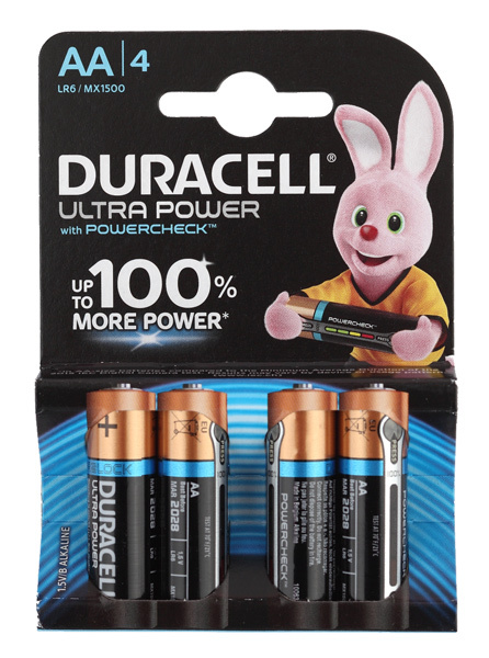 Батарея Duracell Ultra Power LR6-4BL MX1500 AA (4шт) батарейки duracell lr6 4bl turbo 80 240 20400 блистер 4шт aa