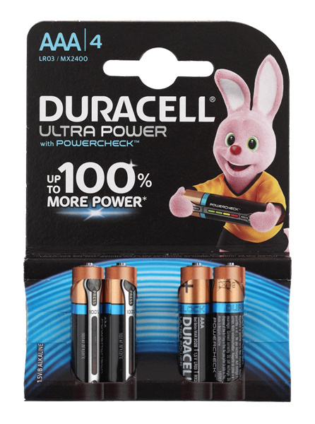 Батарея Duracell Ultra Power LR03-4BL MX2400 AAA (4шт) аккумулятор 850 mah duracell hr03 4bl aaa 4 шт